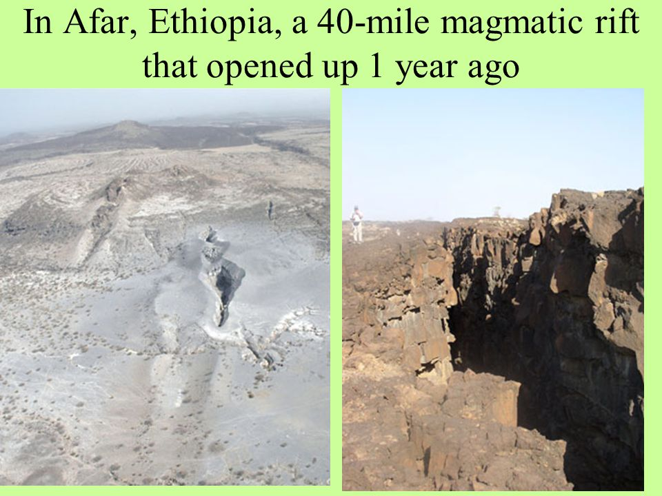 In Afar, Ethiopia, a 40-mile magmatic rift that opened up 1 year ago