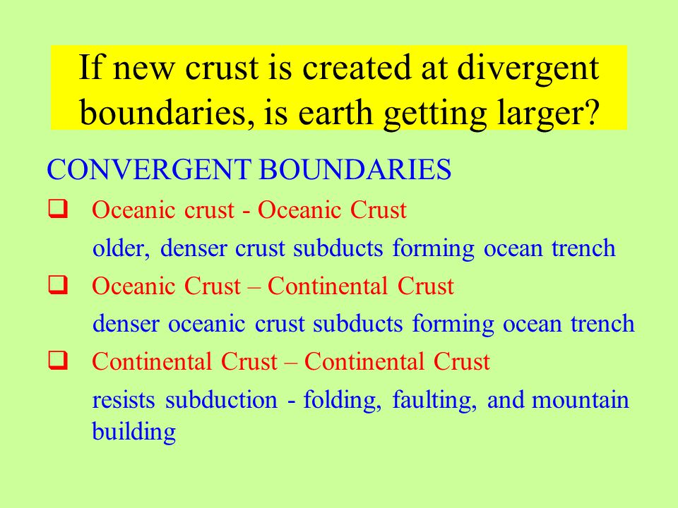 If new crust is created at divergent boundaries, is earth getting larger