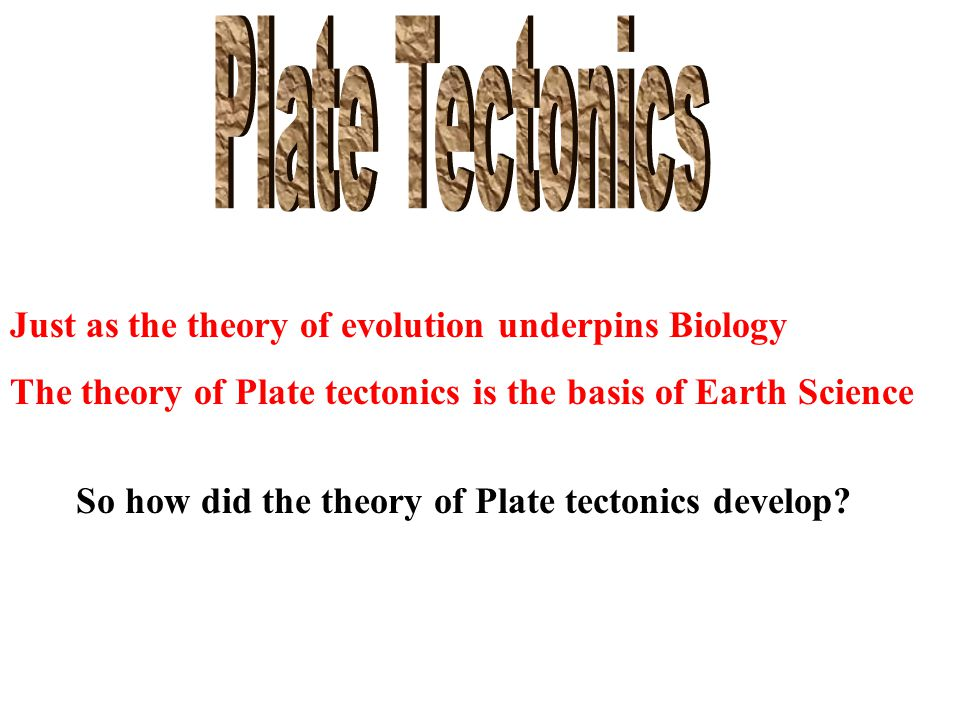 So how did the theory of Plate tectonics develop