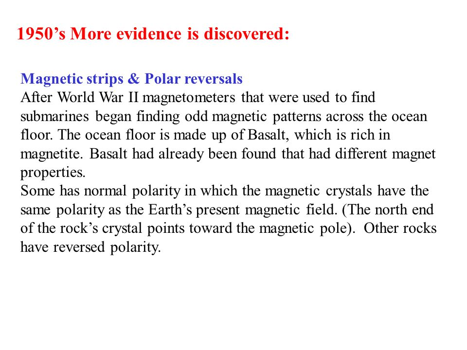 1950's More evidence is discovered: