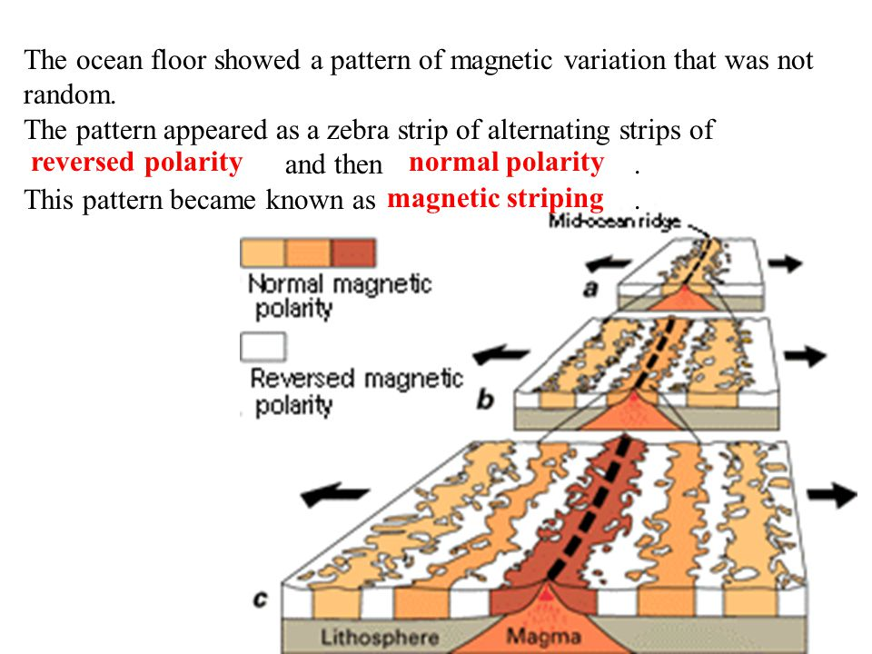 The ocean floor showed a pattern of magnetic variation that was not random.