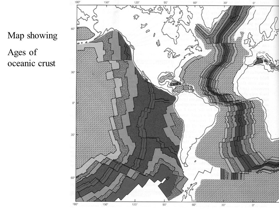 Map showing Ages of oceanic crust