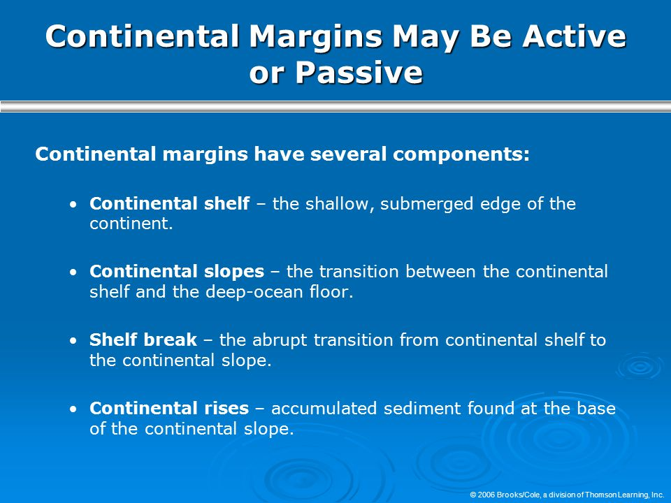 Continental Margins May Be Active or Passive