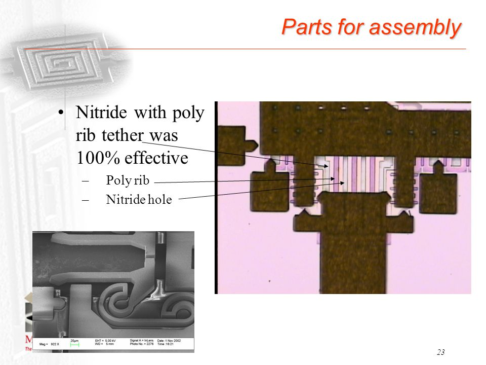 Parts for assembly Nitride with poly rib tether was 100% effective