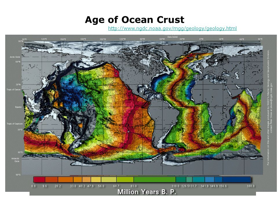 Age of Ocean Crust http://www.ngdc.noaa.gov/mgg/geology/geology.html