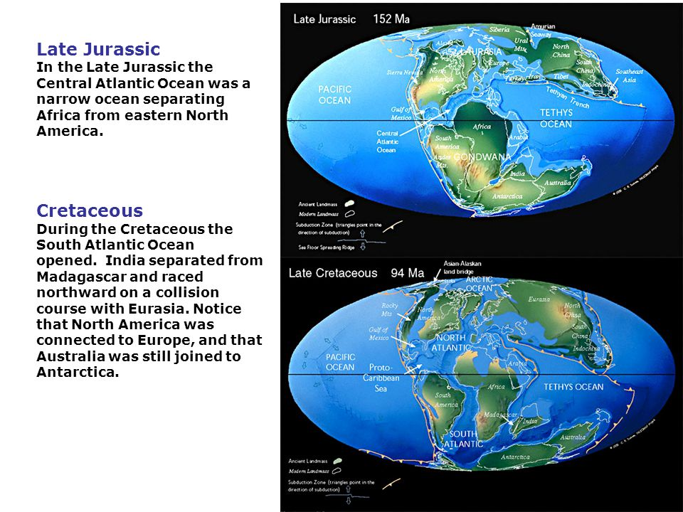 Late Jurassic In the Late Jurassic the Central Atlantic Ocean was a narrow ocean separating Africa from eastern North America.