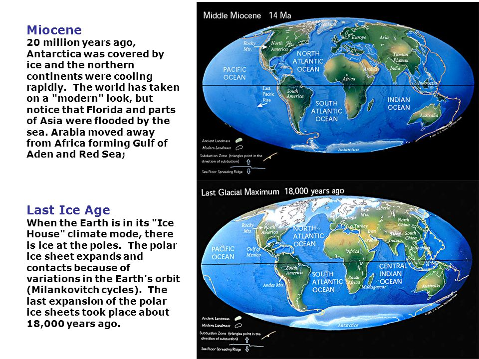 Miocene 20 million years ago, Antarctica was covered by ice and the northern continents were cooling rapidly. The world has taken on a modern look, but notice that Florida and parts of Asia were flooded by the sea. Arabia moved away from Africa forming Gulf of Aden and Red Sea;