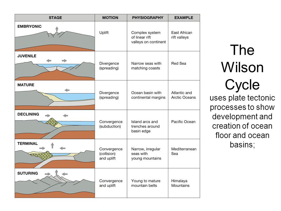 The Wilson Cycle uses plate tectonic processes to show development and creation of ocean floor and ocean basins;