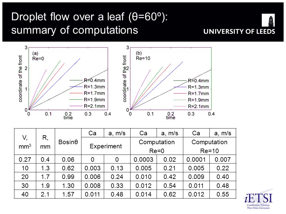 Droplet flow over a leaf (θ=60º): summary of computations