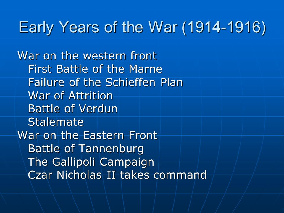 Early Years of the War (1914-1916)