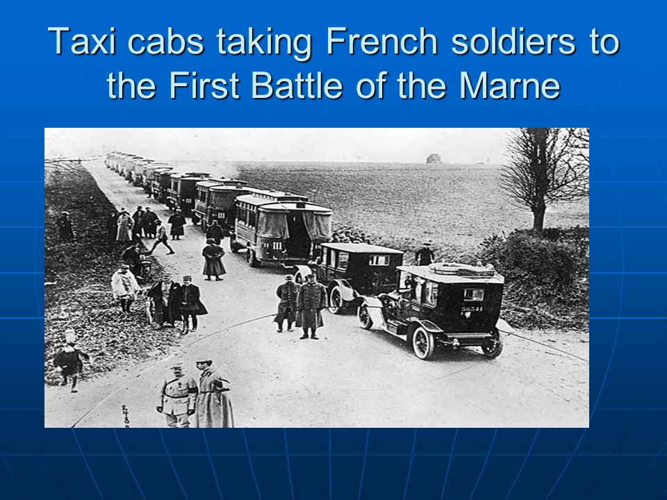 Taxi cabs taking French soldiers to the First Battle of the Marne