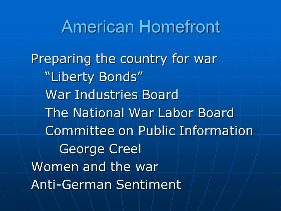 American Homefront Preparing the country for war Liberty Bonds