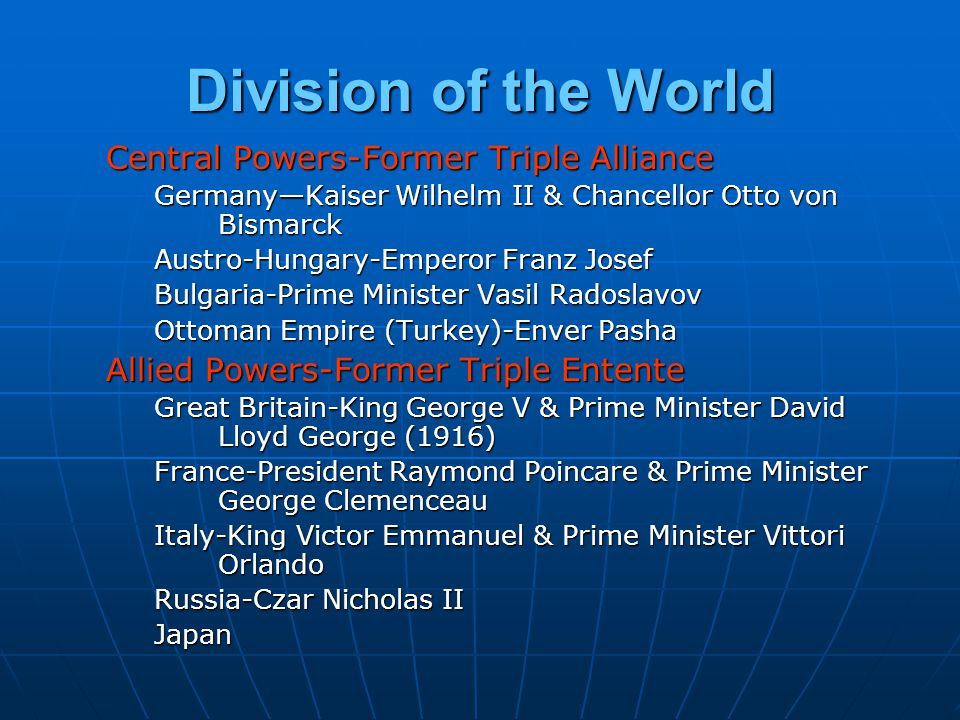 Division of the World Central Powers-Former Triple Alliance