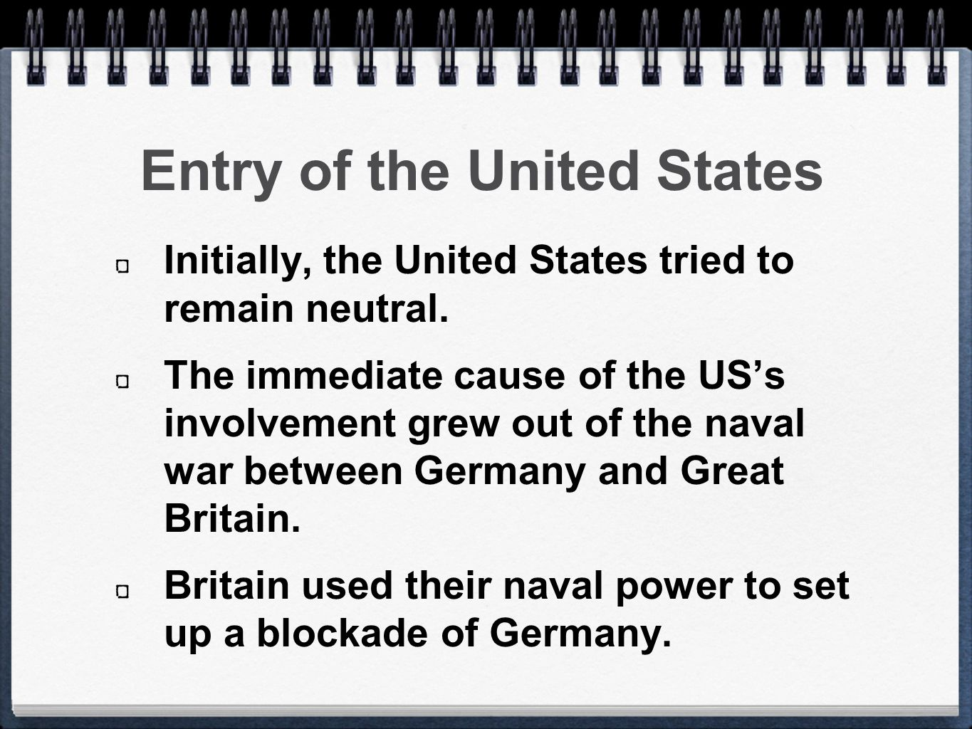 Entry of the United States