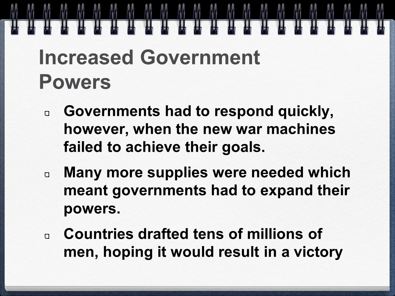 Increased Government Powers