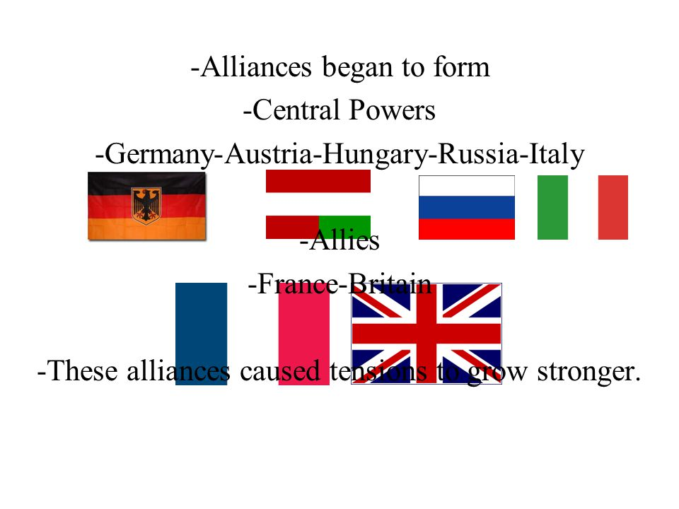 -Alliances began to form -Central Powers