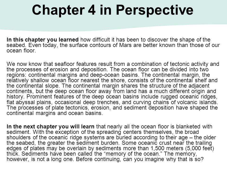 Chapter 4 in Perspective
