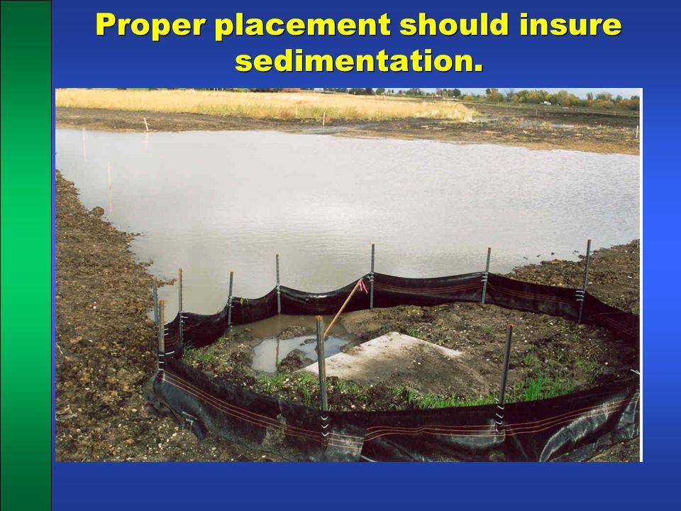 Proper placement should insure sedimentation.