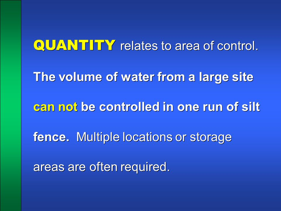 QUANTITY relates to area of control