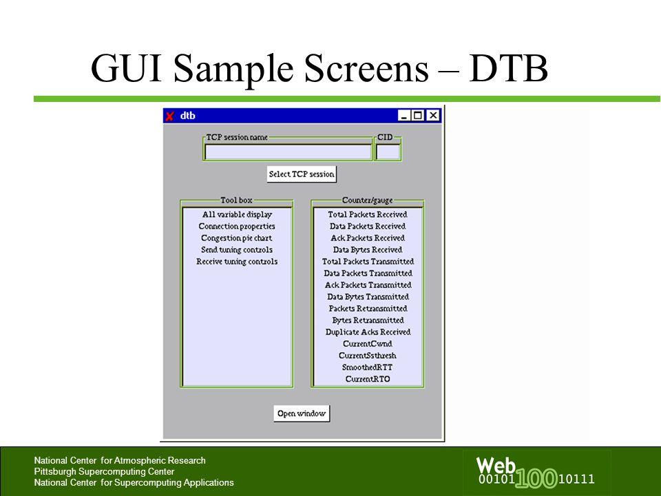GUI Sample Screens – DTB