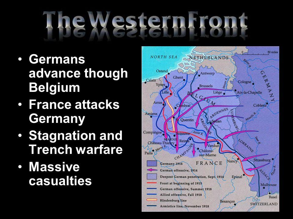 Germans advance though Belgium