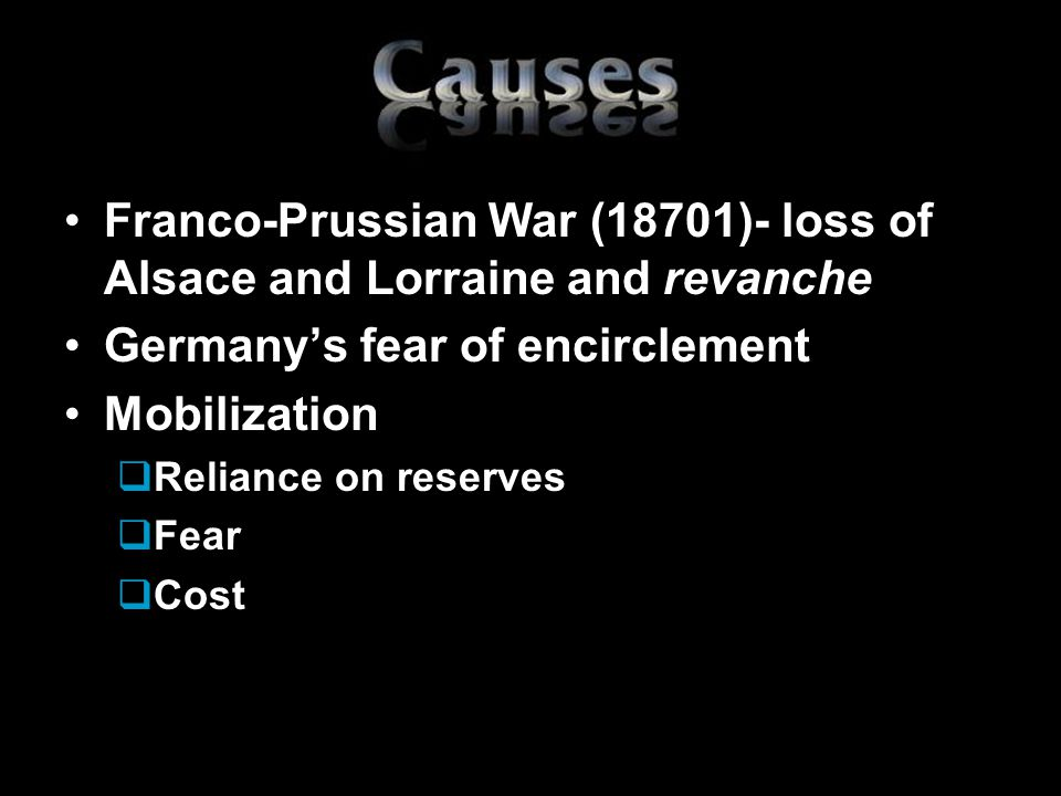 Franco-Prussian War (18701)- loss of Alsace and Lorraine and revanche