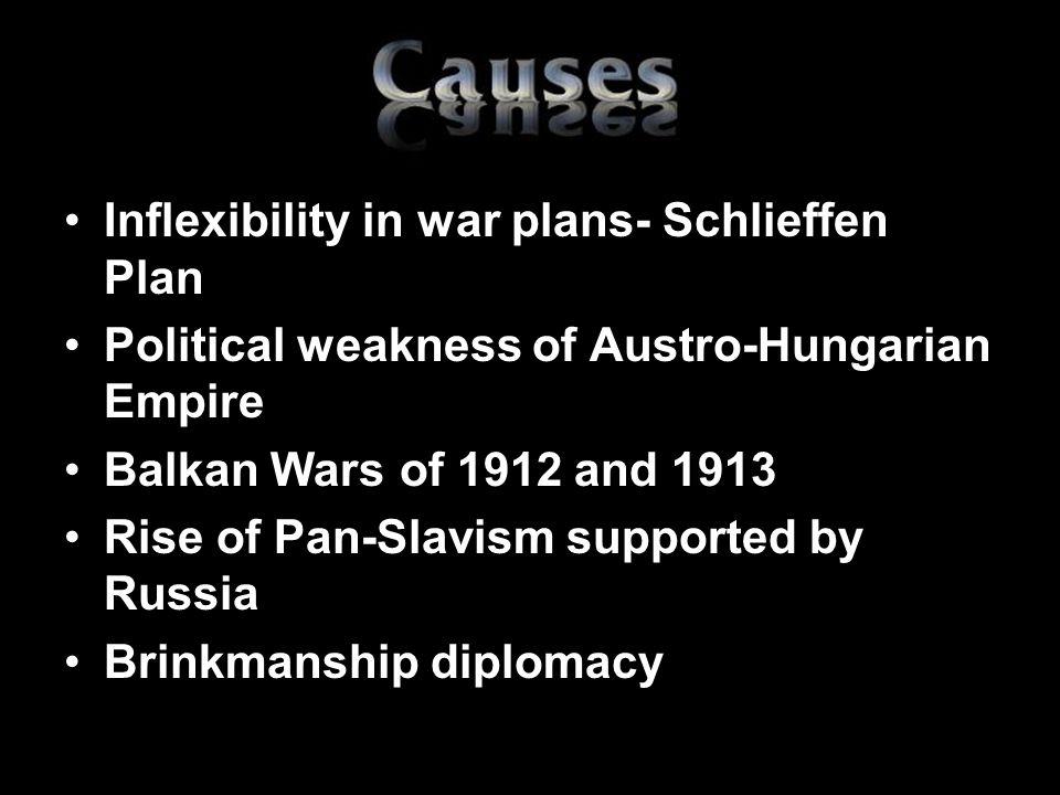 Inflexibility in war plans- Schlieffen Plan
