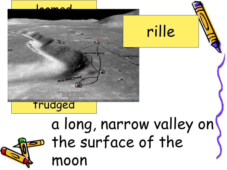 a long, narrow valley on the surface of the moon