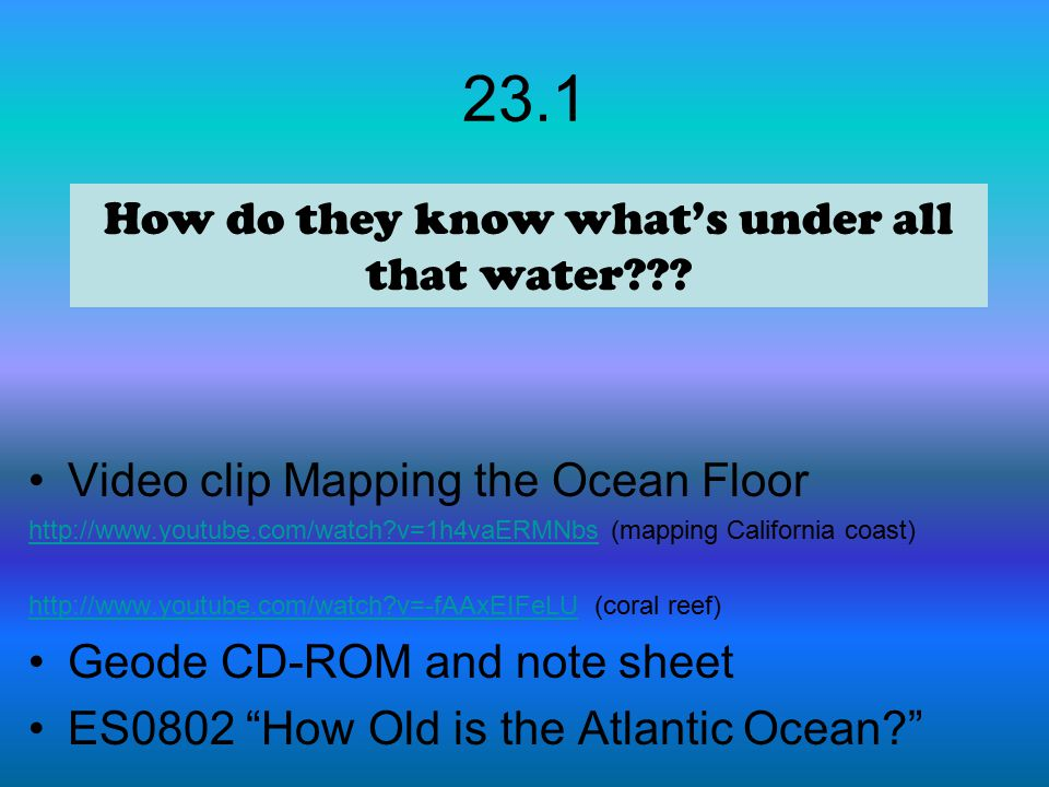 How do they know what's under all that water