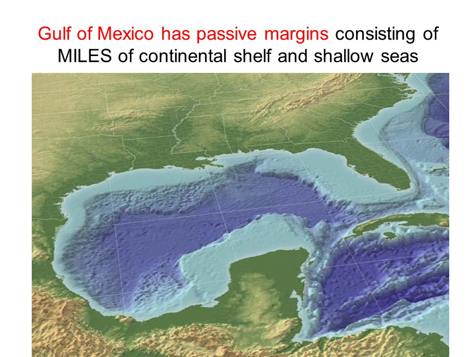 Gulf of Mexico has passive margins consisting of MILES of continental shelf and shallow seas