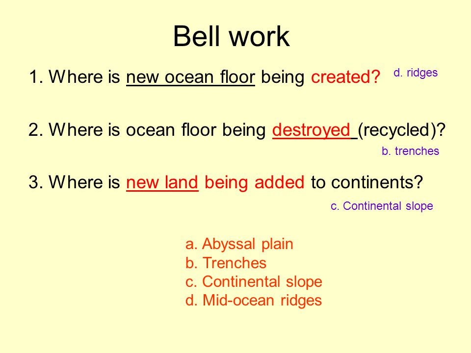 Bell work 1. Where is new ocean floor being created