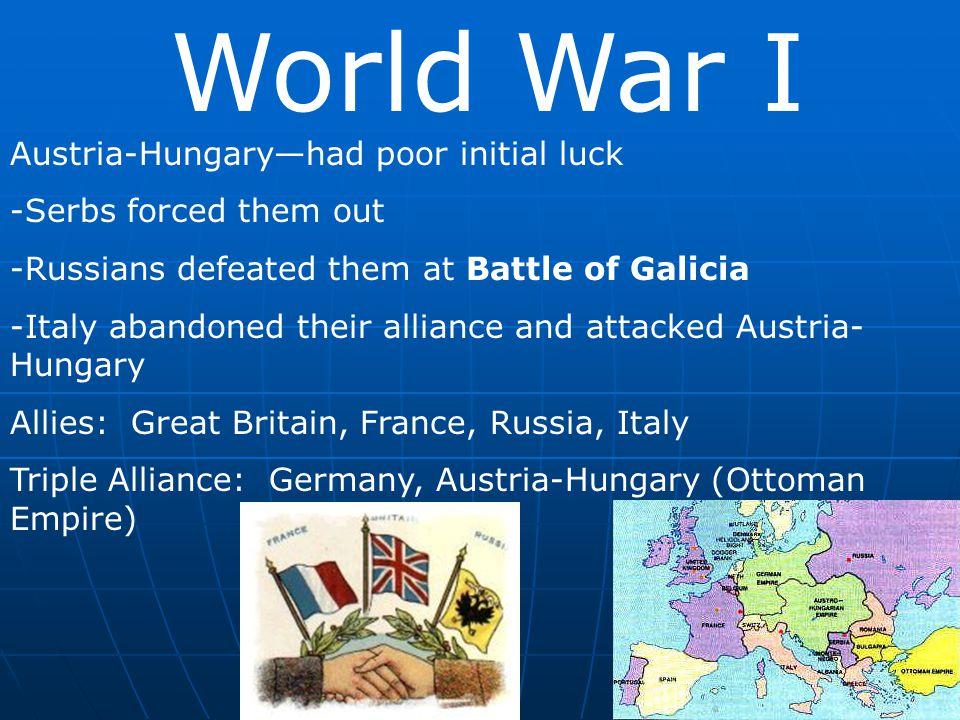 World War I Austria-Hungary—had poor initial luck