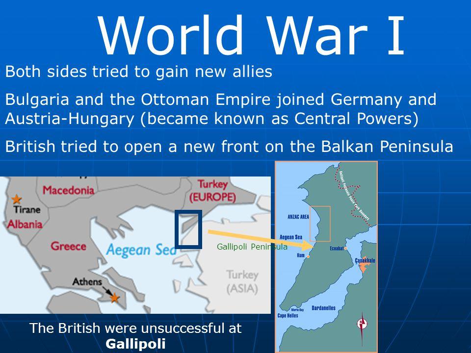 The British were unsuccessful at Gallipoli