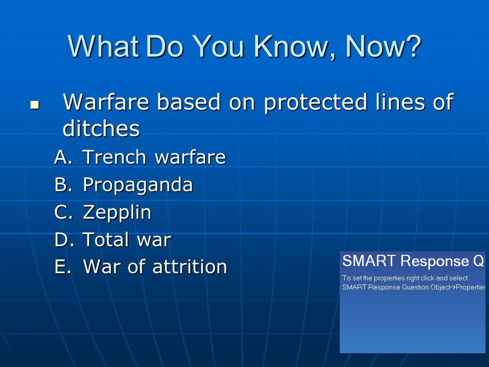 What Do You Know, Now Warfare based on protected lines of ditches
