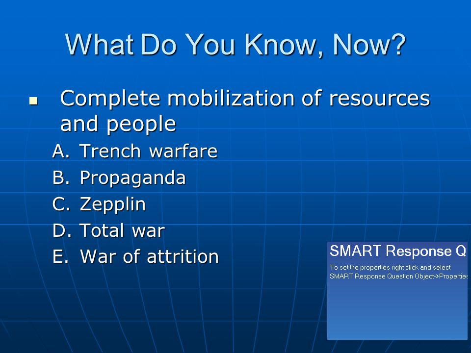 What Do You Know, Now Complete mobilization of resources and people