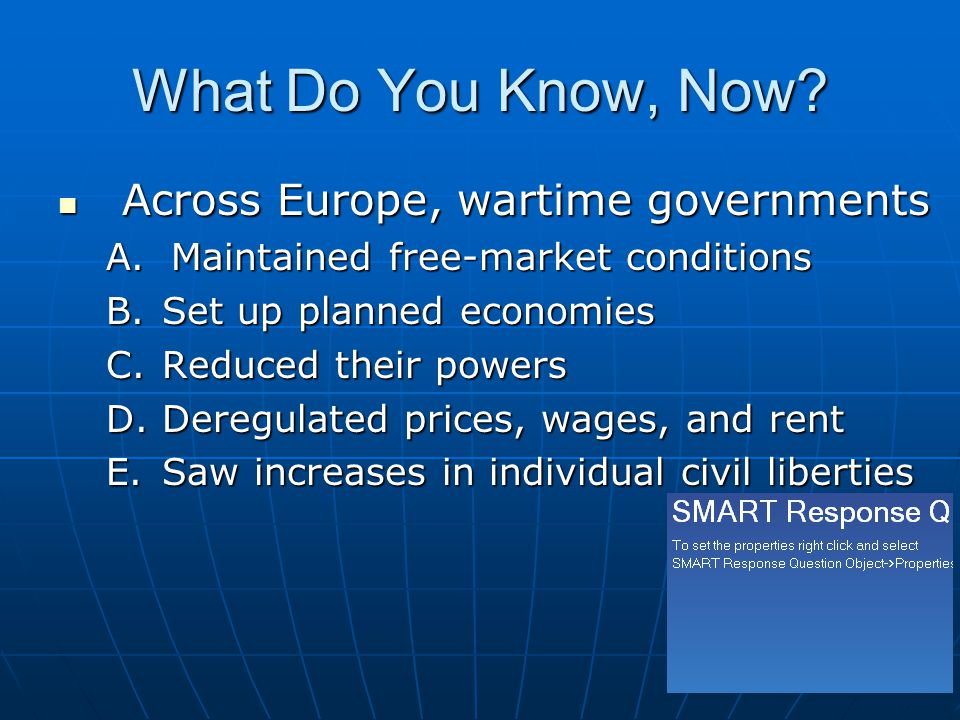 What Do You Know, Now Across Europe, wartime governments