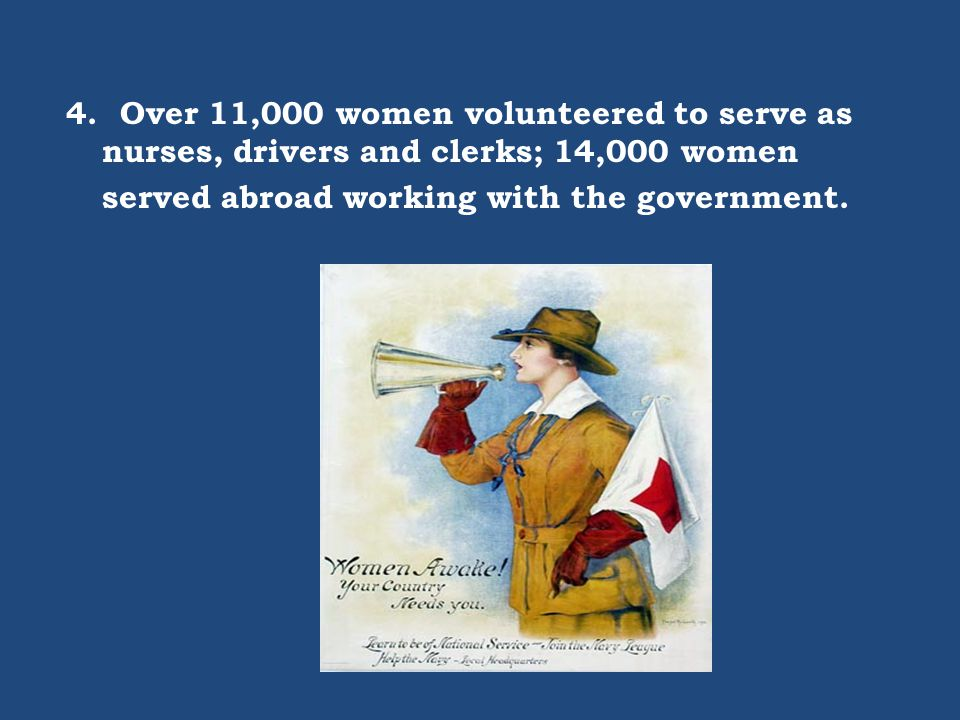 4. Over 11,000 women volunteered to serve as nurses, drivers and clerks; 14,000 women