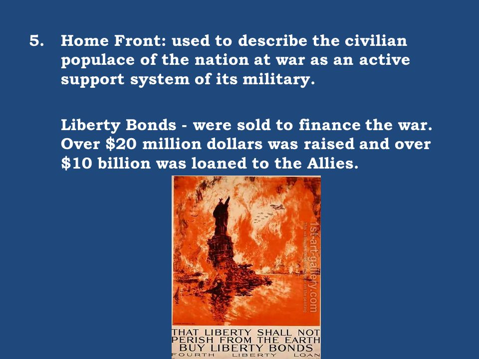 Home Front: used to describe the civilian populace of the nation at war as an active support system of its military.