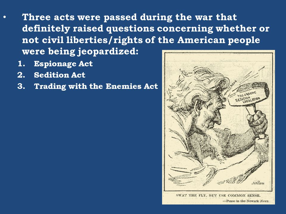 Three acts were passed during the war that definitely raised questions concerning whether or not civil liberties/rights of the American people were being jeopardized: