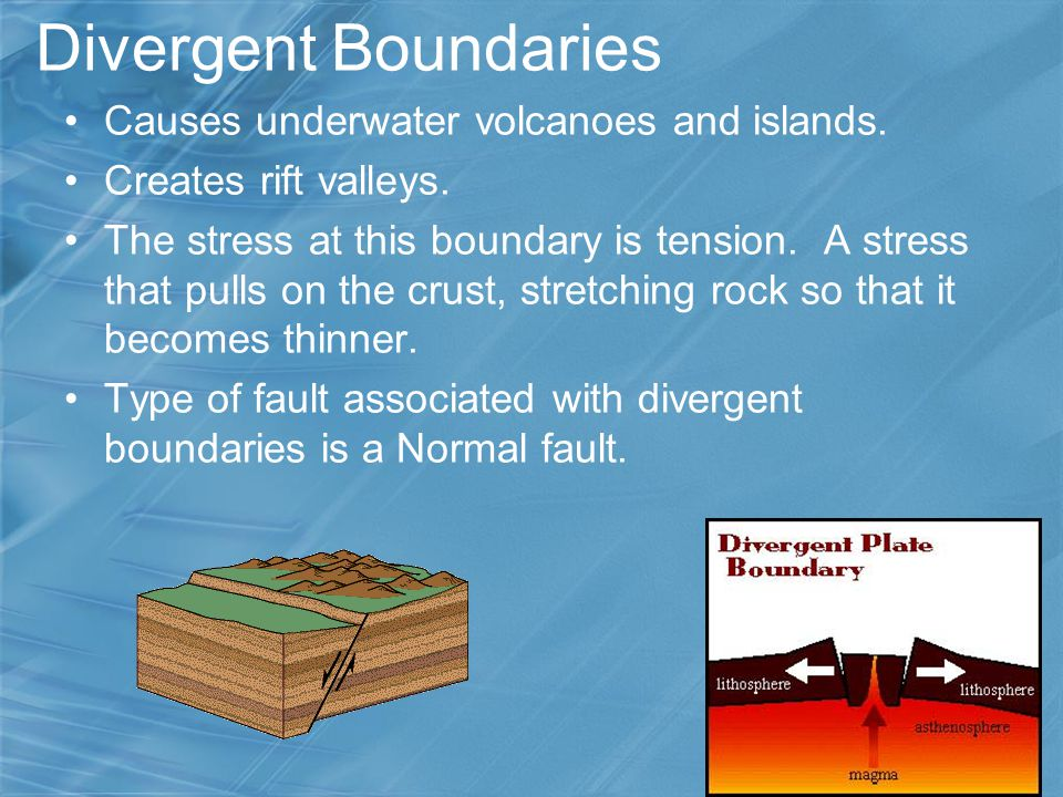 Divergent Boundaries Causes underwater volcanoes and islands.