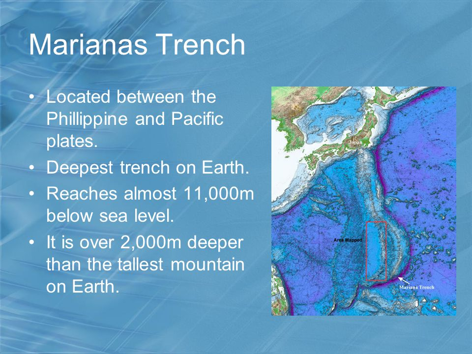 Marianas Trench Located between the Phillippine and Pacific plates.