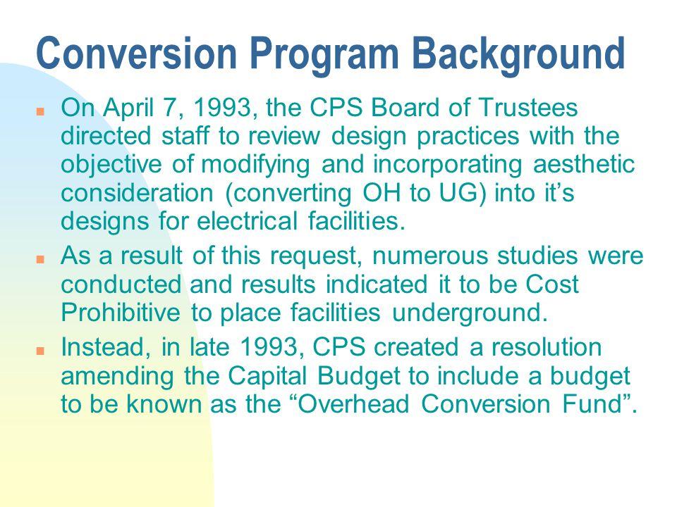 Conversion Program Background
