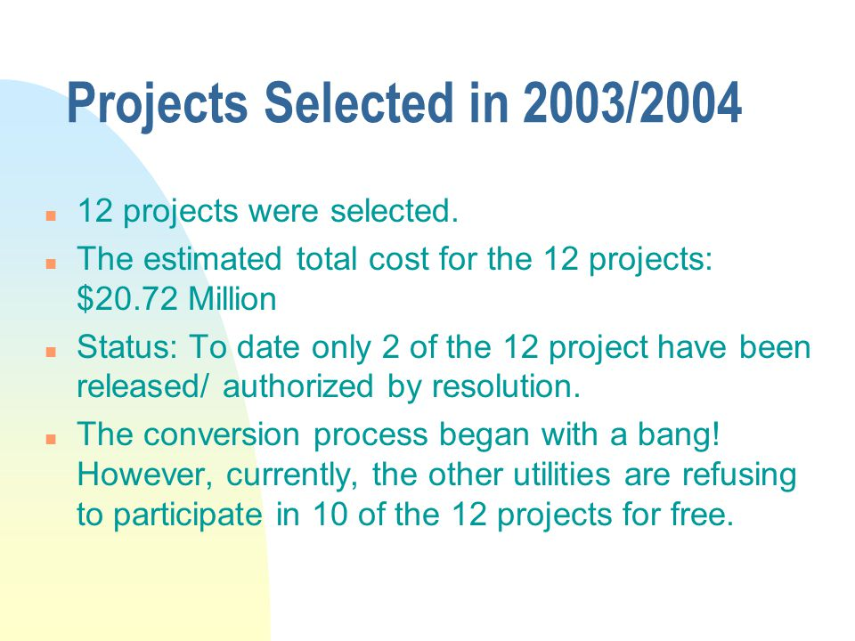 Projects Selected in 2003/2004 12 projects were selected.