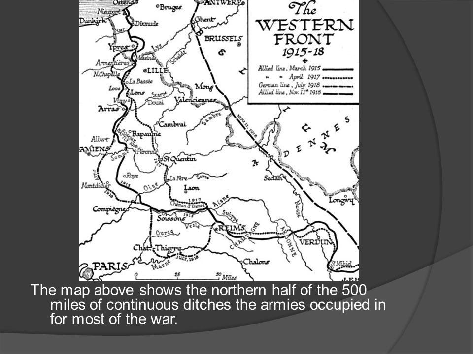 The map above shows the northern half of the 500 miles of continuous ditches the armies occupied in for most of the war.