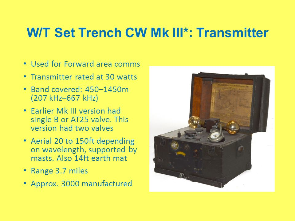 W/T Set Trench CW Mk III*: Transmitter