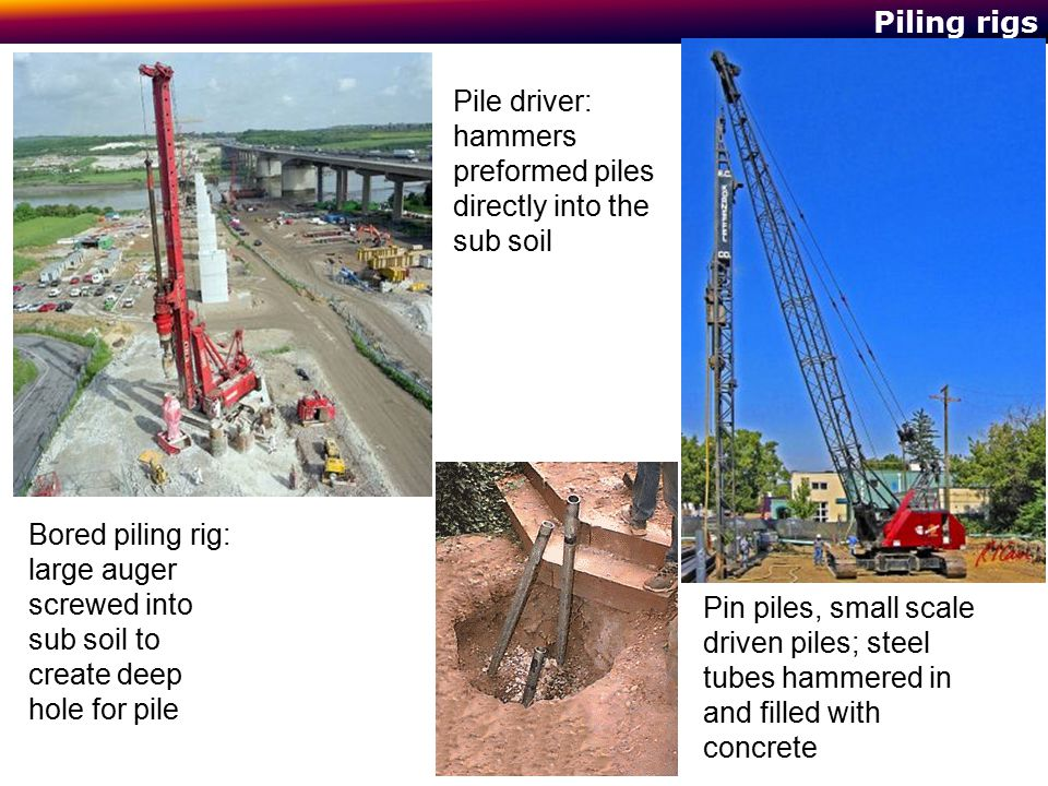 Pile driver: hammers preformed piles directly into the sub soil
