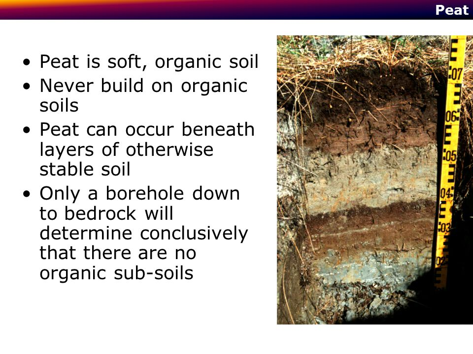 Peat is soft, organic soil Never build on organic soils