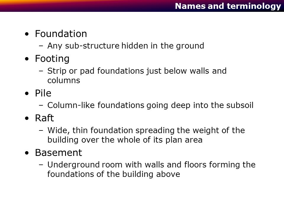 Foundation Footing Pile Raft Basement Names and terminology
