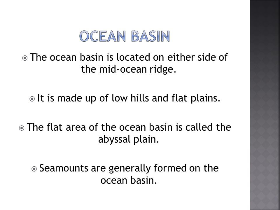 Ocean basin The ocean basin is located on either side of the mid-ocean ridge. It is made up of low hills and flat plains.