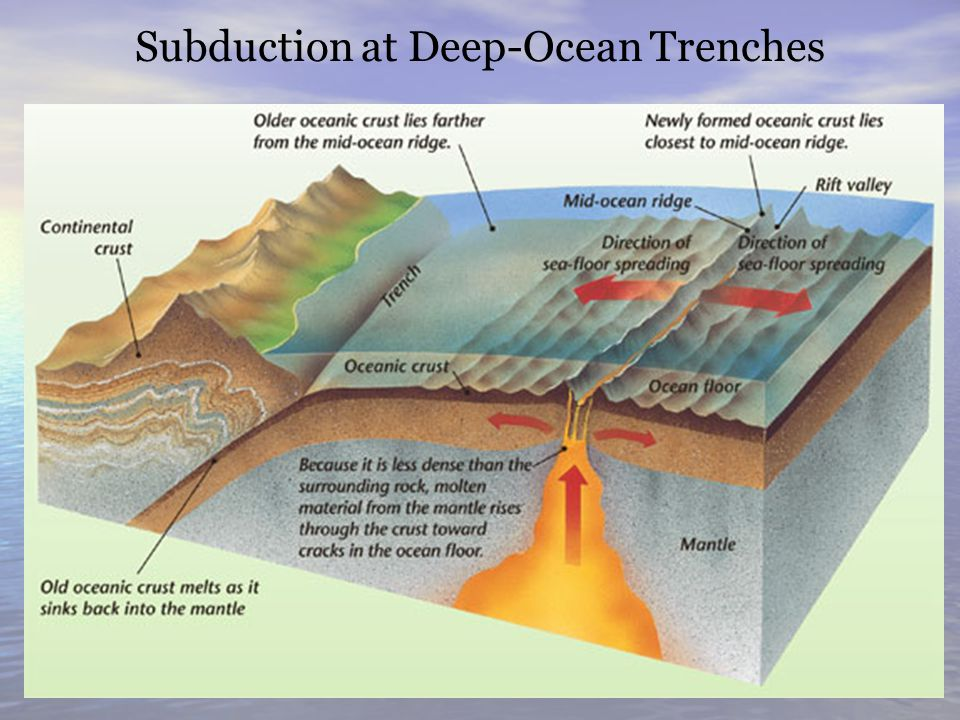Sea floor spreading ppt video online download for How does subduction change the ocean floor